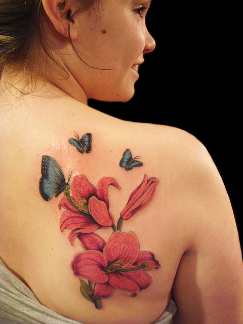 Butterfly And Flowers Tattoo For Back Shoulder
