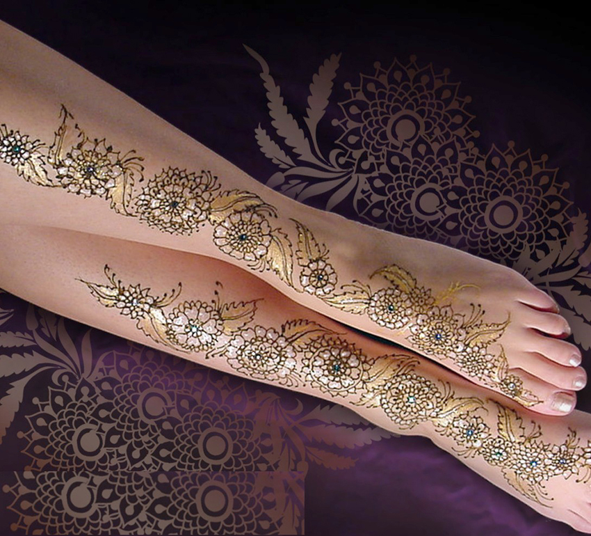 Lovely Mehndi Design For Legs With Feet  ShePlanet