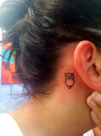 25 genius owl tattoo designs trend sheplanet for Behind the ear tattoos ideas