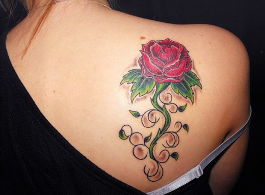Romantic rose tattoo designs for attraction sheplanet for Rose tattoo on back shoulder