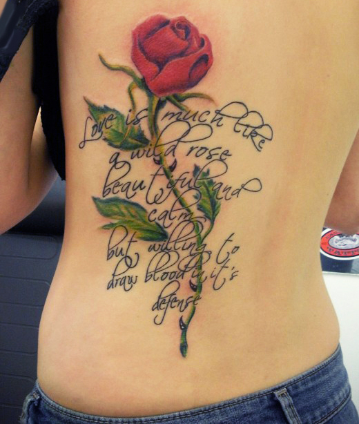 Rose With Text Tattoo Design For Teenagers