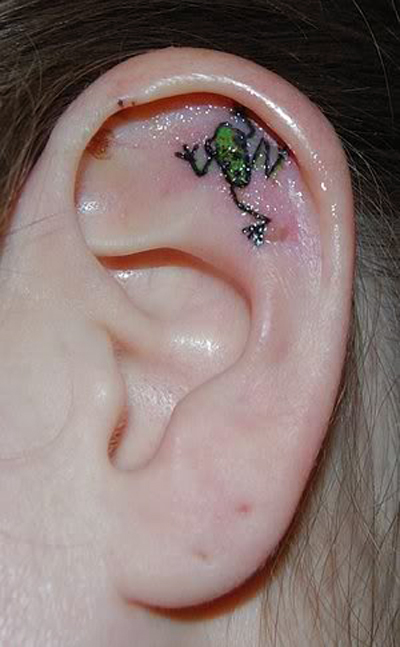 Beautiful Small Frog Tattoo on Ear