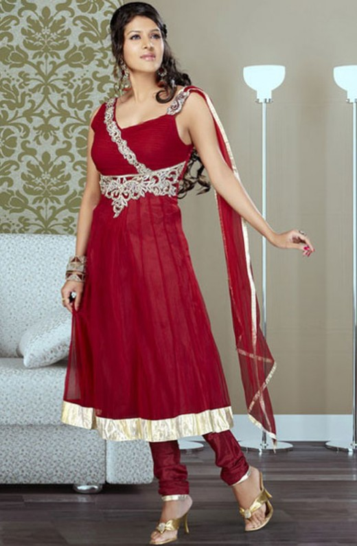 embroidered anarkali churidar kameez