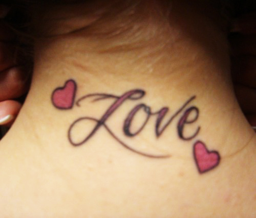 Love Heart Back Neck Tattoo