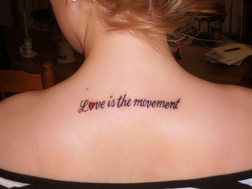 30 awesome love text tattoo designs for lovers sheplanet for Back tattoos for girls quotes