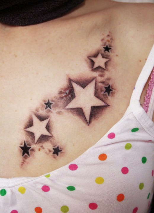 Star Chest Tattoos For Women