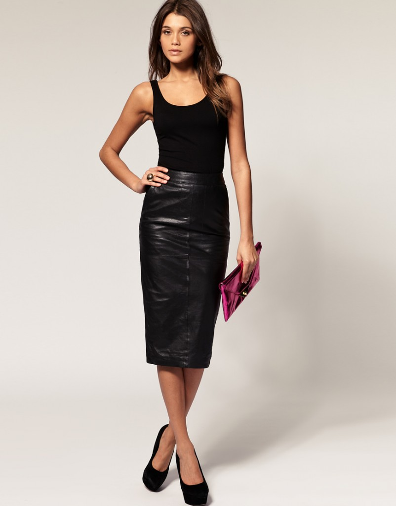 pencil skirt in leather sheplanet