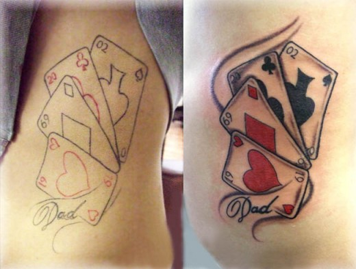 Playing Cards Tattoo for Side Stomach
