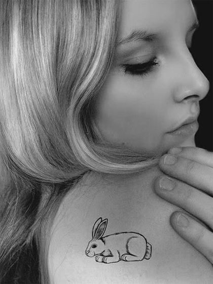 28. Rabbit Celebrity Shoulder Tattoo Design