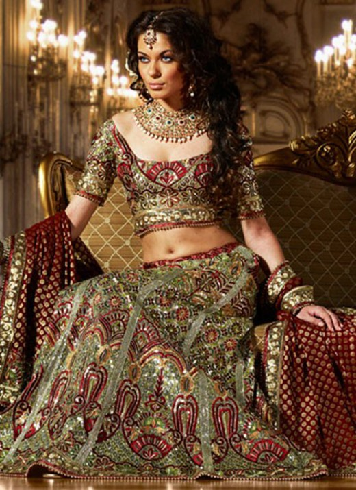 2012 Latest Embroidered Lehenga Choli Designs