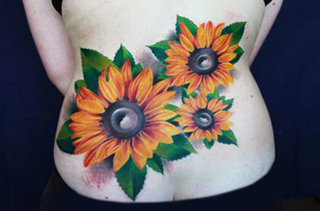 3d Sunflowers Lower Back Tattoo Sheplanet