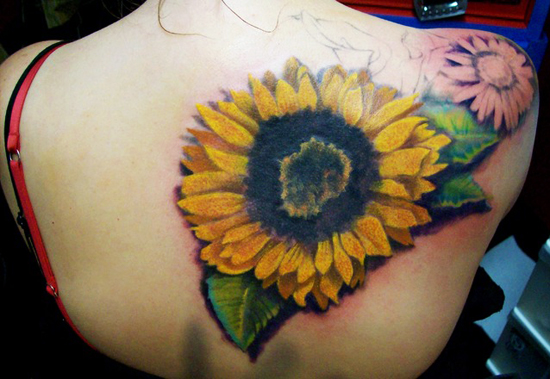 30 realistic sunflower tattoo designs sheplanet for Realistic sun tattoo