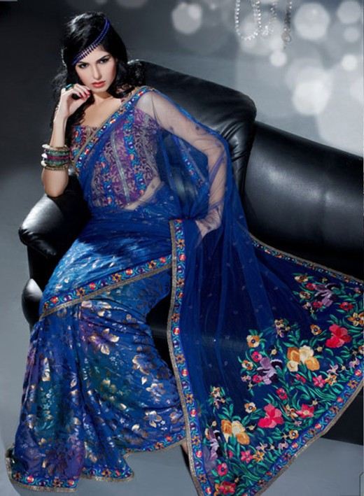 Blue Party Saree Design