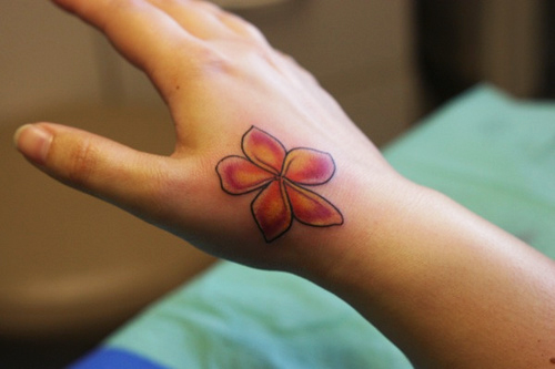 Charming red flowers tattoo designs for valentine day for Flower tattoos on hand