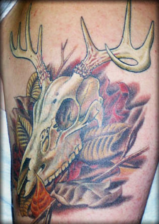 whitetail deer skull tattoos. Black Bedroom Furniture Sets. Home Design Ideas