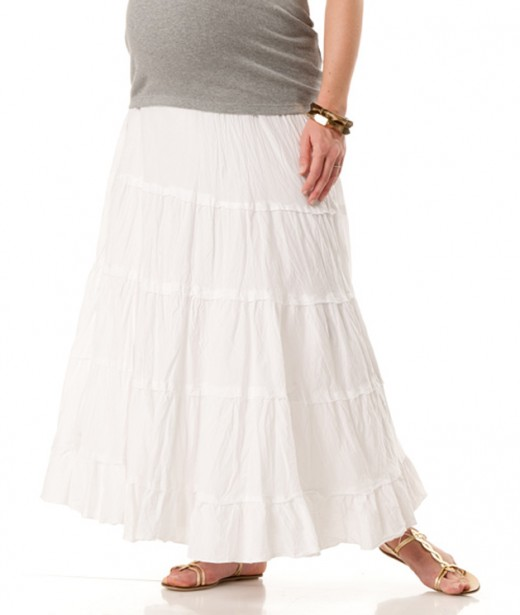 Full Length Tiered Maternity Skirt Collection