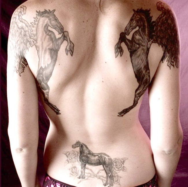 horses tattoo design for female back piece sheplanet. Black Bedroom Furniture Sets. Home Design Ideas