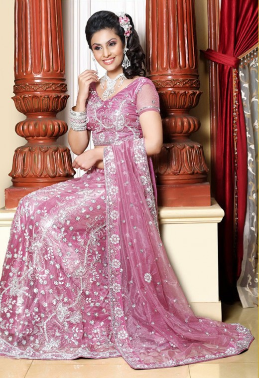 Pink Designer Embroidered Lehenga Choli
