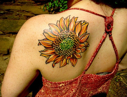 13  Sunflower Tattoo for College Girls Back ShoulderRealistic Sunflower Tattoo On Shoulder