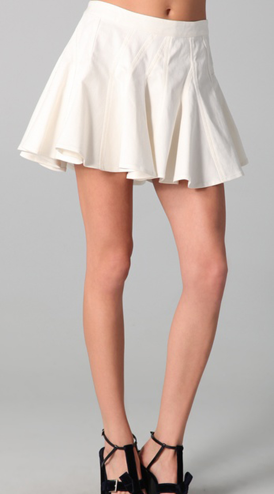 white color a line skirt sheplanet