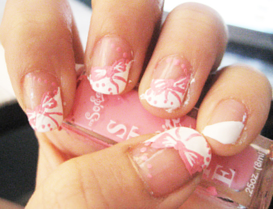 Ribbon Nail Art Pink Ribbons - ShePlanet