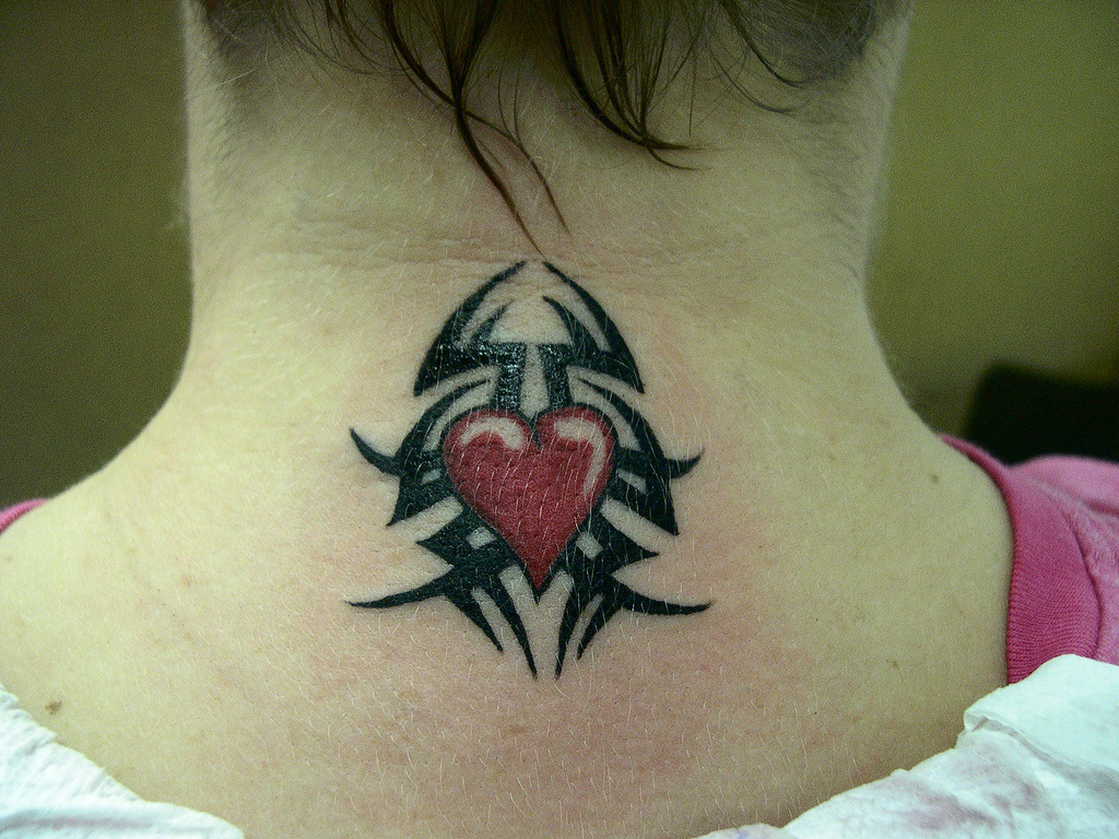 Tribal heart tattoo for neck sheplanet for Heart tattoo on neck