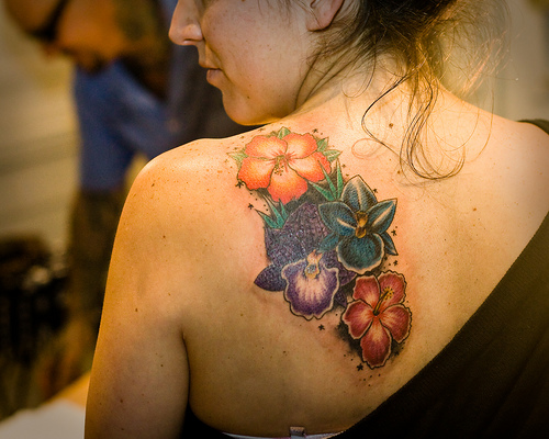 Excellently good flower tattoo designs sheplanet for Back tattoo flower designs
