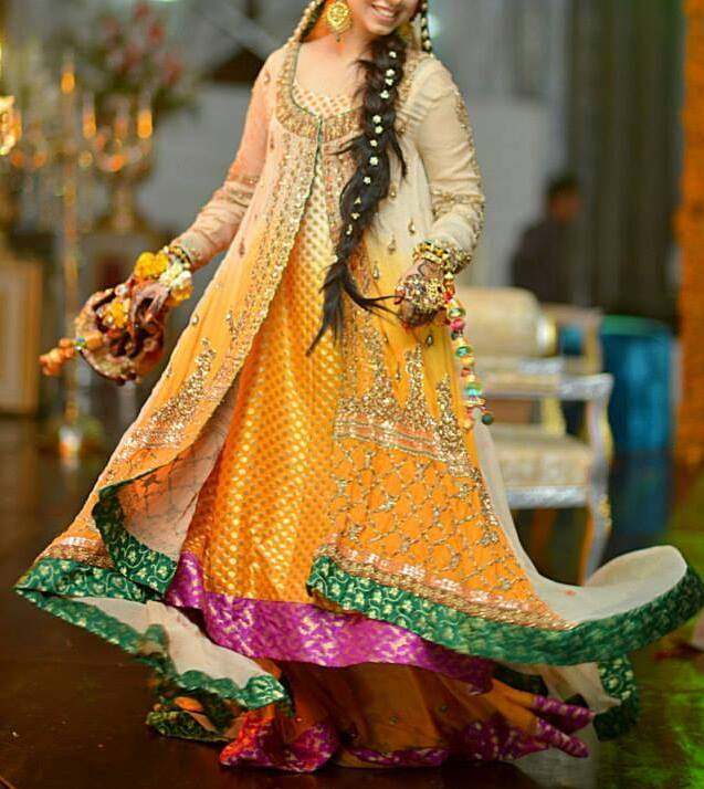 Latest Collection Of Mehndi Dresses For Brides 2014